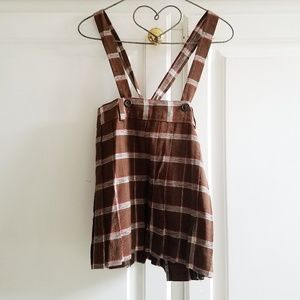 Girls Vintage Brown Plaid Pleated Suspender Skirt
